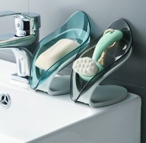 Leaf shaped Soap Suction Base Holder case box Drainage Container Rack Bathroom