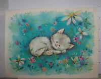 Vintage Greeting Card Coronation Collection Kitten Cat Sleeping Field Of Flowers