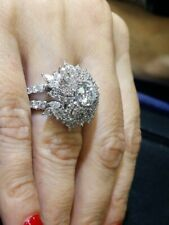 Anniversary Ring in 925 Silver Unique Intricate 5.51Ct Snowflake Cubic Zirconia