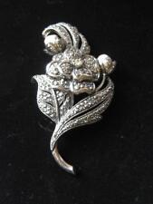 Vtg KJL for Avon 'Antique Impressions' Marcasite & Faux Pearl Flower Brooch D139