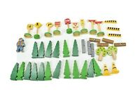 Lot 42 Accessories Signs Trees Person Logs Beams Cones from Wooden Train Set
