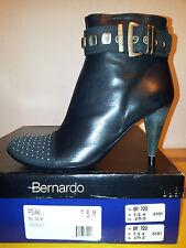 $199 Womens Bernardo Leather Ankle Boots 7.5 Stiletto Heels Black RETIRED