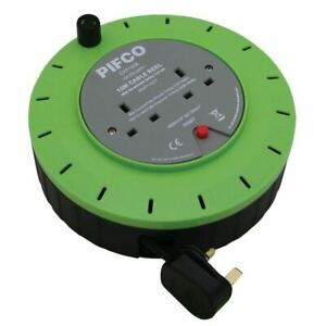 PIFCO 10M & 2 Way 13 AMP Electric Extension Cable Reel Mains Plug & Socket Lead