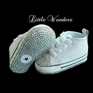 Swarovski Rhinestone Infant Baby Unisex White Converse Shoes