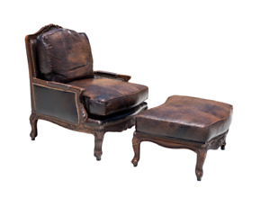 Old Hickory Tannery Croc Embossed Leather Bergère Chair and Matching Ottoman