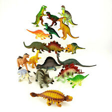 Vintage Hard Plastic Dinosaur Lot of 18 Tyranosaurus Spinosaurus Brontosaurus