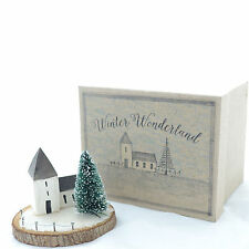 Wood Christmas Ornament Winter Church Scene  - East of India Xmas Decor Gift