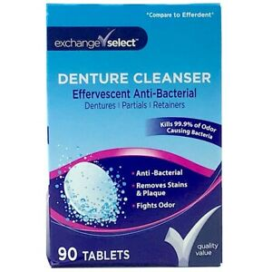 Denture Cleaner Cleaner Anti-Bacterial Exchange Select 90 ct Tablets Total