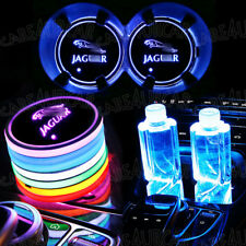 For Jaguar Colorful LED Car Cup Holder Pad Mat Auto Interior Atmosphere Lights