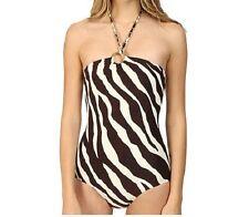 Michael Kors Swimsuit Sz 8 Chocolate Bandeau Animal Maillot One Piece MM87896
