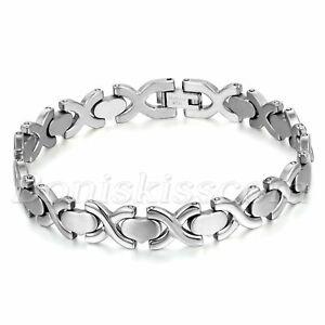 Men's Women's Charm Silver Tone Stainless Steel Cross Heart Link Bracelet Chain