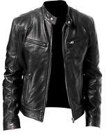 mens Biker vintage cafe racer leather jacket - black-brown leather jacket