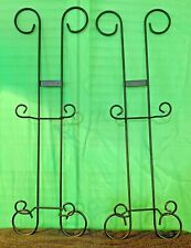 """Pair of 2 Black Wrought Iron 2 Plate Vertical Display Wall Hanger 28"""" Long"""