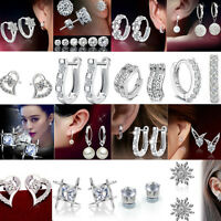 Women 925 Silver  rhinestone Crystal stud Hoop Earrings  Wedding PARTY Jewelry