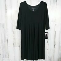 Lennie Nina Leonard Size XL Dress Solid Black 3/4 Sleeves NEW NWT