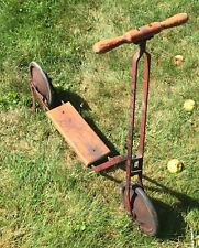 Rare Antique Sheboygan Wisconsin Metal Scooter W/Kickstand Original Paint