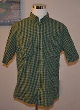 WOOLRICH MENS LARGE 100% COTTON VENTED GREEN PLAID HIKING FISHING SHIRT