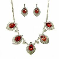 Red Crystal Statement Necklace and Earring Set - NEW