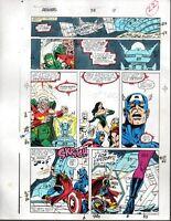 Avengers 318 Marvel Comics color guide art page 22:Thor/Iron Man/Captain America