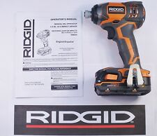RIDGID 18v 18 VOLT X4 LITHIUM CORDLESS IMPACT DRIVER GUN + BATTERY BUNDLE