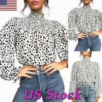 Women Casual Chiffon Boho High Neck Ruffle Long Sleeve Loose T-shirt Tops Blouse