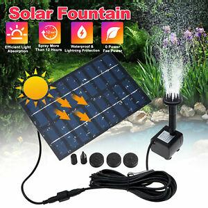 Solar Power Fountain Submersible Water Pump Bird Bath Pond Garden Decor US