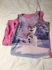 Disney Olaf Anna Elsa Pink Frozen Girls Princess Kids 2 Piece Set Pyjamas PJs