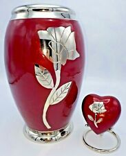Brass Cremation Urns for Ashes Adult & Keepsake - Red with Silver Rose