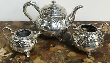 More details for 3 piece sterling silver thailand bangkok tea set circa 1900 in fitted case