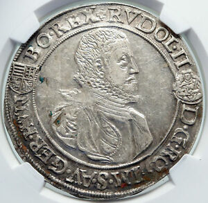 1582 HUNGARY King RUDOLF II Crowned Eagle Antique Silver Taler Coin NGC i87201