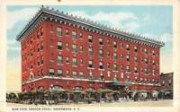 Greenwood South Carolina Oregon Hotel Street View Vintage Postcard K48334