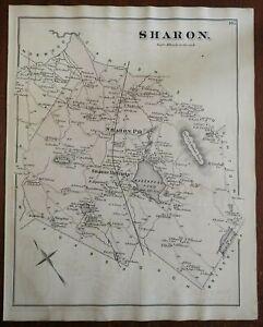 Sharon Township Norfolk County Massachusetts Massapoag 1876 detailed antique map