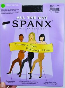 Spanx All The Way Womens Black Size D Medium Control Pantyhose New (C4)