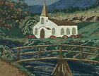 """The Old Greensborough Jacquard Tapestry Panel Pillow Mountain Church 18"""""""