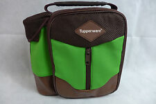 Tupperware Insulated Lunch Bag Tote Logo Zipper & Bottle Holder Green & Brown