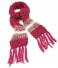 New Ladies Long Winter Knitted Tassels Two Tone Fuchsia Pinks Scarfs
