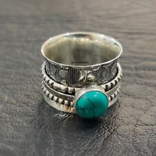 Turquoise Ring Solid 925 Sterling Silver Spinner Ring Meditation Ring Size RR38