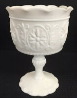 "Vintage Milk Glass Footed Goblet Chalice 6.25"" High Vase Unmarked Mid-Century"