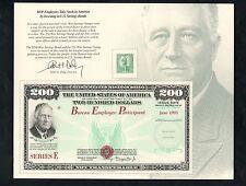 BUREAU OF PRINTING (BEP) EMPLOYEES TAKE STOCK IN AMERICA $200 FDR  SAVINGS BOND