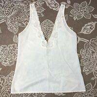 Vintage LADY LYNNE Womens White Cami Camisole Tank Top Nylon Small Medium