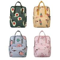 Cartoon Print Women Canvas Backpacks Large Capacity School Shoulder Handbag