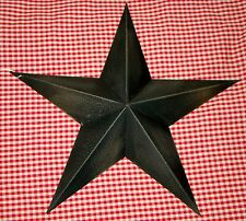 "Rustic Primitive BLACK Tin 12"" Barn Star Country Home decor Farmhouse charm"