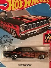 2019 HOT WHEELS FLAMES SERIES '66 CHEVY NOVA Black