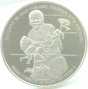1972 Super Bowl VI Cowboys 24, Dolphins 3 Silver Round 1.91 Ozt