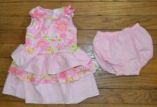 Pink Zebra Baby Girl Floral & Polka Dot Dress & Diaper Cover Size 12 Months