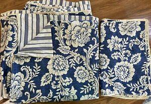 Madison Park Georgia Blue Cotton Duvet Cover Set Queen Floral Stripe Shams