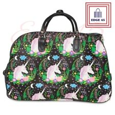 Unicorn Black Faux Leather Luggage Holdall On Wheels With Pull Out Handle