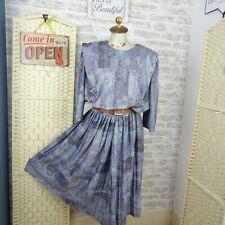 vintage 80s blouson tea dress  stretch polyester lined granny chic boho XL  D385