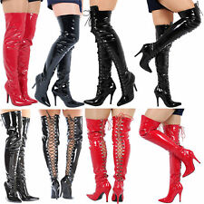 WOMENS LADIES MENS THIGH HIGH OVER KNEE BOOTS FRONT LACE STILETTO HEEL SIZE 4-12