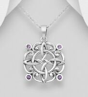 Amethyst Gemstone Celtic pendant 925 sterling silver size Height 27mm x 19mm Wd